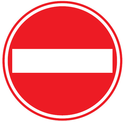 no entry 300 mm VR sign