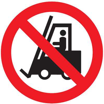 no fork lifts 300 mm VR sign