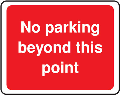no parking beyond 300 x 400 mm VR sign
