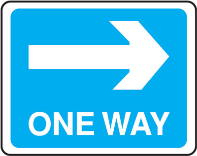 one way right 300 x 400 mm VR sign