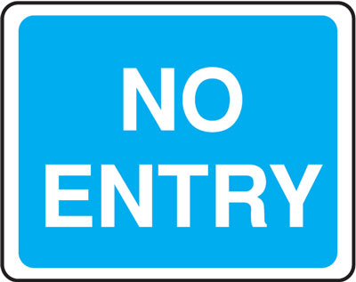 no entry 300 x 400 mm VR sign