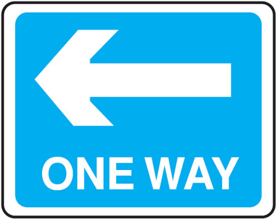 one way left 300 x 400 mm VR sign