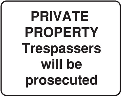 private property 300 x 400 mm VR sign