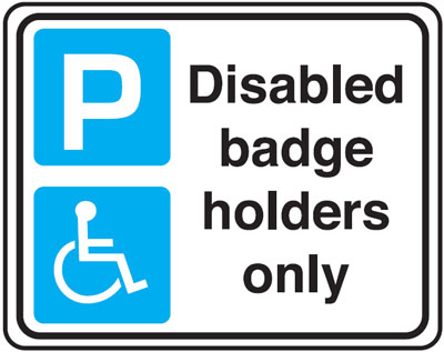 disabled badge 300 x 400 mm VR sign