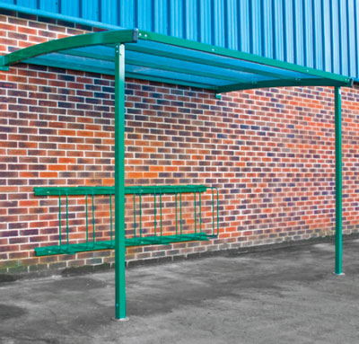 Wall mounted cycle shelter blue