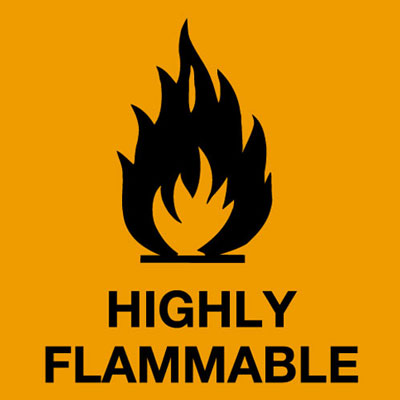 Hazard symbols rolls of 500 20 x 20 mm highly flammable