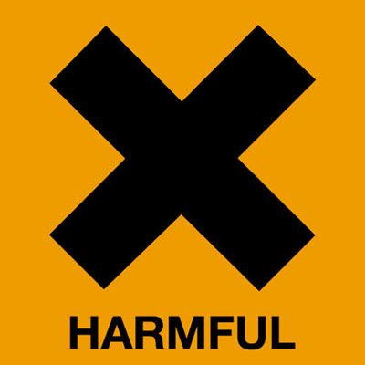 Roll of 500 20 x 20 harmful symbol sign.