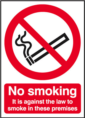 UK smoking signs - A5 no smoking it is against the law to