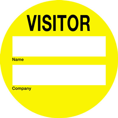 60 x 60 visitor Self adhesive vinyl badges