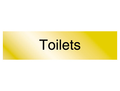 40 x 160 mm aluminium engraved sign toilets
