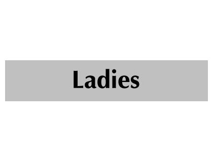 UK Door Signs - 40 x 200 mm black on white ladies infotex