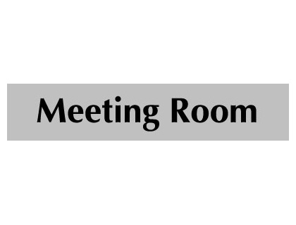 UK Door Signs - 40 x 200 mm black on grey meeting room
