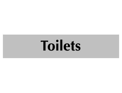 UK Door Signs - 40 x 200 mm black on grey toilets infotex