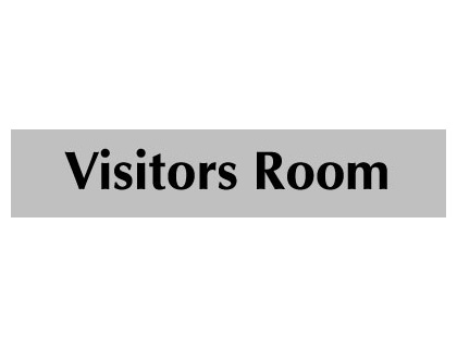 UK Door Signs - 40 x 200 mm black on grey visitors room