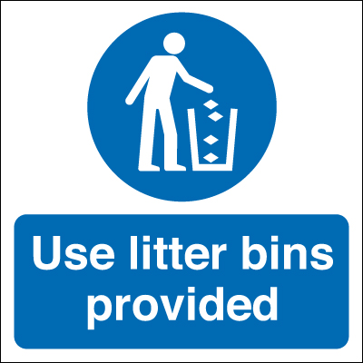 50 x 50 use litter bins provided