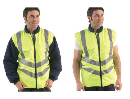 XXL hi visibility hi-vis bodywarmer removable arms