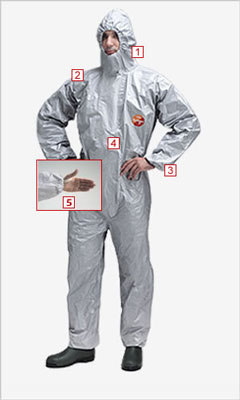 Tychem f chemical coverall M Medium