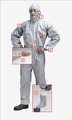 Protective clothing - Tychem f chemical coverall + socks M