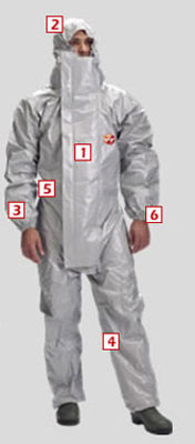 Protective clothing - Tychem f2 chemical coverall + dbl zip l