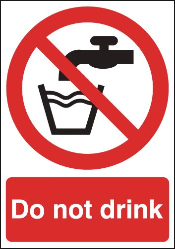 100 x 75 mm do not drink label.
