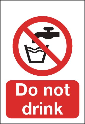 100 x 75 mm Do Not Drink Safety Signs