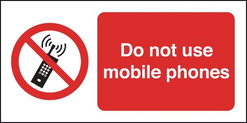 50 x 100 mm do not use mobile phones label.
