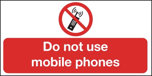 100 x 200 mm Do Not Use Mobile Phones Safety Labels