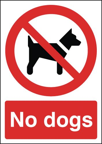 150 x 125 mm no dogs label.