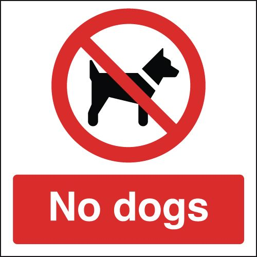 100 x 100 mm no dogs label.