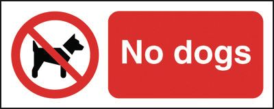 Prohibition signs - 100 x 250 mm no dogs
