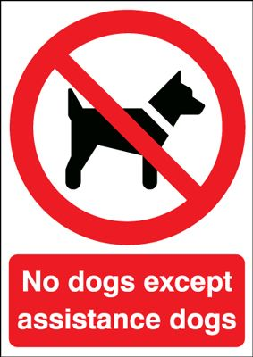 150 x 125 mm no dogs except assistance dogs label.