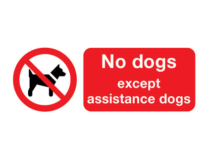 Prohibition signs - 100 x 250 mm no dogs except assistance dogs