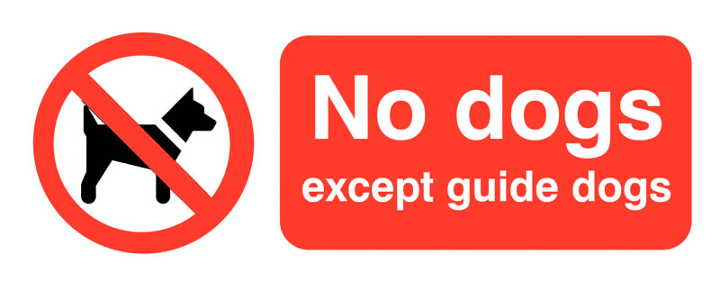Prohibition signs - 100 x 250 mm no dogs except guide dogs
