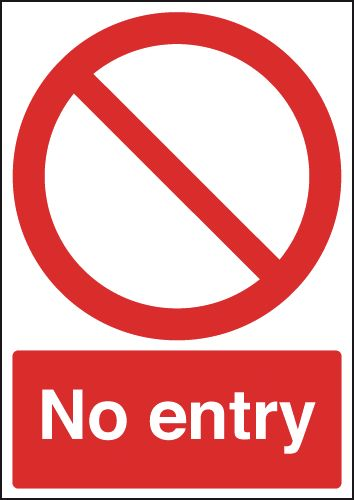 250 x 200 mm no entry (circular & diagonal) label.