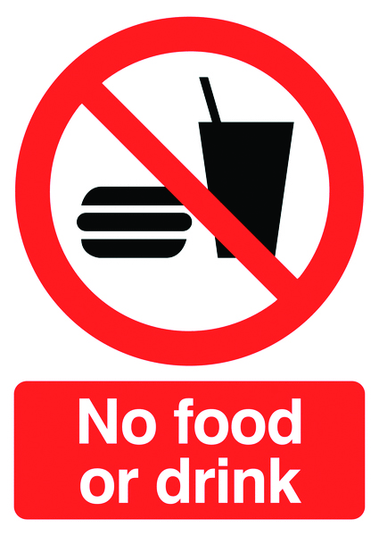 A5 no food or drink label.