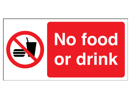100 x 200 mm no food or drink sign.