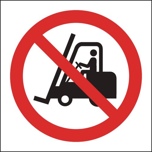 UK fork lift signs - 150 x 150 mm no fork lift trucks SYMBOLS