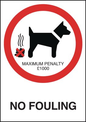 150 x 125 mm no fouling maximum penalty �1000 sign label.