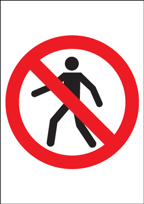 400 x 300 mm no pedestrians (symbol no text) sign.