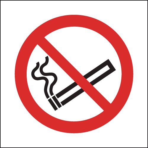 UK smoking signs - 100 x 100 mm no smoking (symbol)