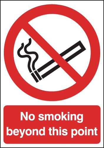 UK smoking signs - A5 no smoking beyond this point