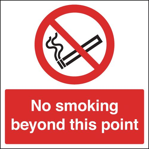 UK smoking signs - 450 x 450 mm no smoking beyond this point