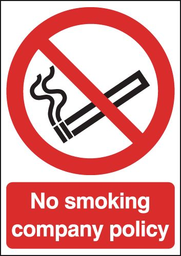 UK smoking signs - 250 x 200 mm no smoking company policy