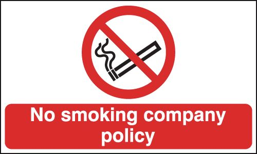 UK smoking signs - 300 x 500 mm no smoking company policy