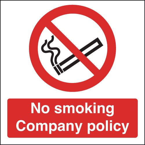 UK smoking signs - 100 x 100 mm no smoking company policy