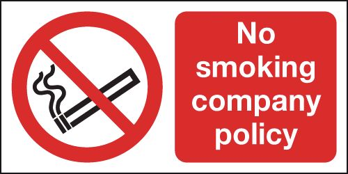 UK smoking signs - 150 x 300 mm no smoking company policy