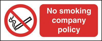 UK smoking signs - 100 x 250 mm no smoking company policy