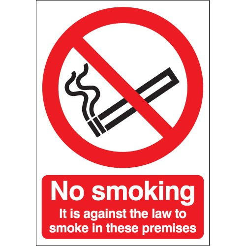 UK smoking signs - 100 x 75 mm no smoking it is against the law