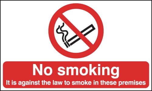 UK smoking signs - 150 x 200 mm no smoking it is against the law