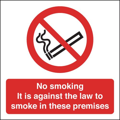 UK smoking signs - 200 x 200 mm no smoking it is against the law